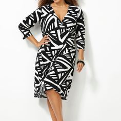 Abstract Print Faux Wrap Dress-Plus Size Wrap Dress-Avenue - This makes me want to wear a dress and that never happens!