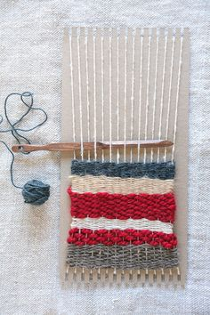 A simple way to begin weaving! This cardboard loom allows you to warp and weave within minutes. All you need is string to wrap around the board (your warp) an