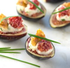 Fig and Vegan Truffle Chive Cheese Appetizers with Coconut Bacon!