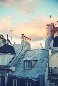 Paris rooftops and pastel skys