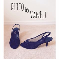 "Ditto VanEli Black Slingbacks Ditto VanEli Black Mesh Peep-Toe Slingbacks with Bow.  Great condition!  2.75"" heel.  Bought at DSW but they've barely been worn.  Selling this item for a family member.  All proceeds from this purchase will be donated to our local animal shelter.                                 PayPal                                                                   No trades Ditto by VanEli Shoes"