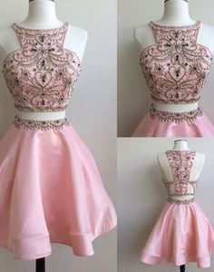 Pink two pieces O-neck beaded special high quality short knee-length Prom Dresses Gown,cheap homecoming prom gown BD1705519
