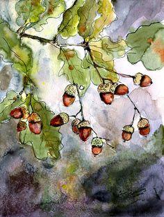 Acorns  Painting  - Acorns  Fine Art Print by Ginette Fine Art