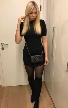 Beautiful Leonie looking so riveting on a girl's night out in her black curved-hem bodycon dress. #LBSDaily