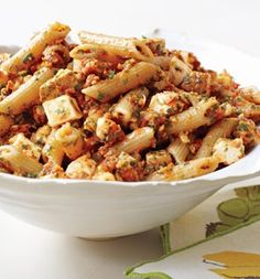 Penne with Tomato Pesto and Smoked Mozzarella #Pasta #Health