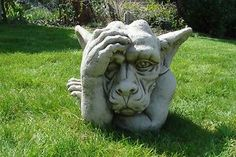 HAND ON HEAD GARGOYLE STATUE- CAST STONE GARDEN ORNAMENT | eBay