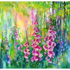 Woodland Foxgloves I By Sheila Gill. | Greetings Cards | Prints | Gift Wrap