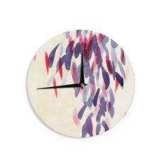 "Iris Lehnhardt ""Abstract Leaves IV"" Tan Purple Wall Clock"