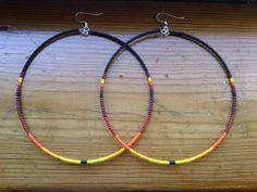 Hand Beaded Large Hoop Earrings