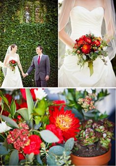 red, red, red wedding-flowers