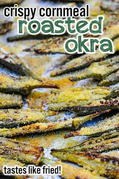 Love the taste of fried okra, but not the calories (or standing over a hot skillet of oil)? Try this oven roasted okra instead! It has a crispy cornmeal topping and takes only minutes to prepare. Okra Recipes, Vegetable Recipes, Real Food Recipes, Vegetarian Recipes, Cooking Recipes, Vegetarian Barbecue, Barbecue Recipes, Vegetarian Cooking, Easy Cooking