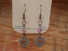 Small Gear and Pink Glass Bead Earrings