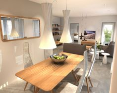 Cool Studio Apartment Open Space Interior With Living Room And Dining Room