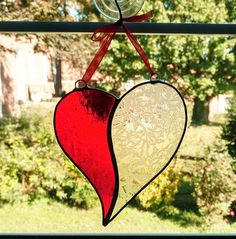 Stained Glass Heart Suncatcher Red Glass Heart Lacy Heart #StainedGlassCathedral