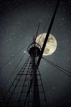 I want to sail the sea again, where the lonely moon's in the sky, all I ask for is tall pirate ship and a star to steer her by ~ Pirate dream Stars Night, Stars And Moon, Beautiful Moon, Beautiful People, Sail Away, To Infinity And Beyond, Tall Ships, Night Skies, Sky Night