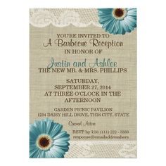 Teal Daisy and Burlap BBQ Wedding Reception Custom Invitations -- pretty much perfect since I want a BBQ wedding and daisies will be my flowers of choice! Coming up sooner than you think...