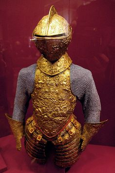 Impression of armour as it originally appeared France 1575-80 Gilding overall was popular in France,both for the rich look and the rusproofing properties,-The process frequetly involved boiling mercury and was etremely toxic.