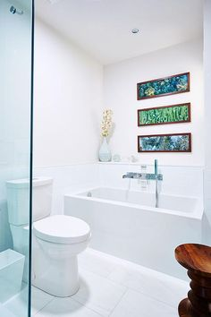 Sarah Richardson - bath in mid century home with Ming green marble - horizontal photos