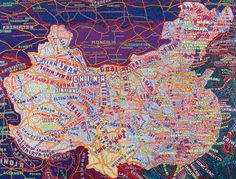 BOTTOM: Paula Scher - 'The World' (1998). Do you trust this map? This acrylic painting contains all the same information as a more 'legitimate' world map: the only difference is in aesthetics. Its most standout features are the medium used, its dense visual hierarchy, and its 'distorted' text and geography. Cartographic subject matter, done in a non-cartographic style.