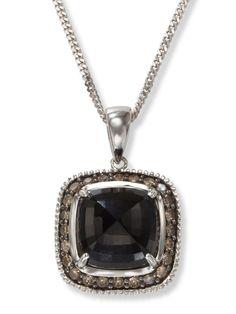 Black Onyx and Champagne Diamond Pendant in 14k White Gold