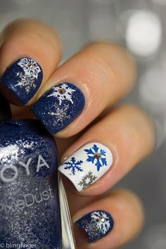 Blue And White PixieDust Snowflakes christmas christmas nails winter nails christmas nail art christmas nail designs christmas nail images Christmas Nail Art Designs, Holiday Nail Art, Winter Nail Designs, Winter Nail Art, Cute Nail Designs, Winter Nails, Pretty Designs, Easy Designs, Christmas Design
