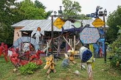 Bynum: Clyde Jones' Critter Crossing Bottle Trees, Wooden Animals, Roadside Attractions, Animal Crossing, North Carolina, Folk Art, Artist, Crafts, Painting