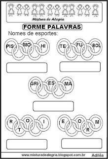 Forme nomes de esportes nos anéis olímpicos