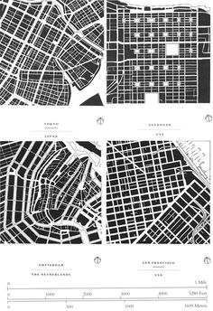Allan Jacobs' seminal treatise Great Streets (1993) takes figure-ground analysis to a new level, showing 50 one-mile-square maps of cities around the world, all drawn to the same scale. Four examples are seen at right.