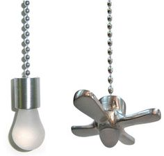 Fan and light bulb shaped pulls - Assume Awesome - by Harbor Breeze at Lowes.