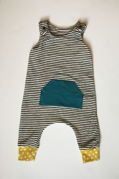 Summer Striped And Polka Dot Pocket Harem Romper • Boy or Girl Clothing • Outfit Sizes 0-3, 3-6, 6-9, 9-12, 12-18 months