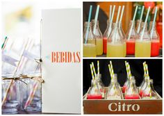 Garrafinhas de vidro para sucos em casamentos - Foto Chá das Duas, KN Photos e Elaine M. Fotografias