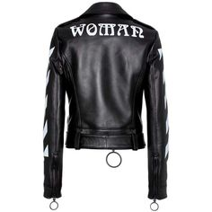 Off-White Diag Leather Biker Jacket (£1,675) ❤ liked on Polyvore featuring outerwear, jackets, black, off white jacket, 100 leather jacket, leather motorcycle jacket, genuine leather biker jacket and biker jacket