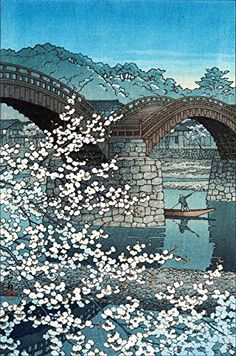 "Japanese Art Print ""Spring Evening Kintai. Bridge"" by Kawase Hasui Shin Hanga and Art Reproductions http://www.amazon.com/dp/B00Y2GNC76/ref=cm_sw_r_pi_dp_V0Qvwb0KSZPKW"