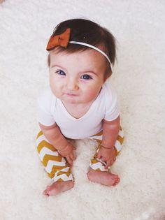 Stretchy Mustard Chevron Baby Leggings Sizes by LeetleChickenShop