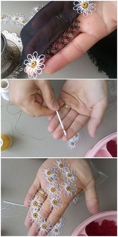 Needle Lace Daisy Model From Ear Trash Stickerei Ideen Ear - Diy Crafts Crochet Motifs, Wire Crochet, Crochet Buttons, Crochet Flower Patterns, Crochet Flowers, Crochet Lace, Crochet Stitches, Fabric Flowers, Needle Tatting Patterns