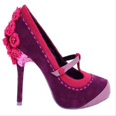 """Feminine florals accent the Poetic Licence """"Famous Floral"""" sassy t-strap pump. We love the dash of glitter on the heel, accent stitching, and beaded flowers."""