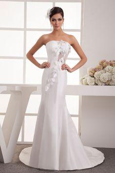 Strapless Sleeveless Zipper Satin White Appliques Natural Waist Wedding Dress