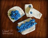 Crochet baby hat, leg warmers, and ruffle diaper cover set