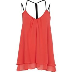 River Island Pink Backless Strap Swing Top ($16) ❤ liked on Polyvore