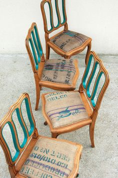 A MILLE creation completed. - One thousand square meters - Trend Reupholster Furniture 2019 Furniture, Chair Makeover, Refurbished Chairs, Woven Chair, Wooden Chair, Blue Dining Room Chairs, Patio Chair Cushions, Vintage Chairs, Cheap Dining Room Chairs
