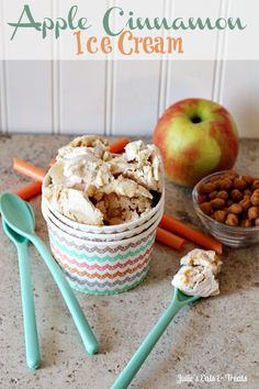 Apple Cinnamon Ice Cream ~ Cinnamon Ice Cream stuffed full of apple pie filling! via www.julieseatsandtreats.com