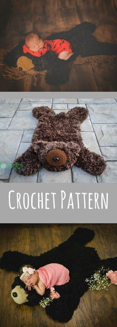 Crochet Pattern for Faux Bear Skin Nursery Rug or Photo Prop DIY Tutorial - Welcome to sell finished items- Kids Crochet Patterns - Home Décor Crochet - Pattern Available After Purchase #ad