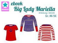 Big Lady Mariella ist ein einfach zu nähendes Basic Shirt mit U-Boot Ausschnitt. Es sitzt tailliert und figurnah. Der Ausschnitt wird mit Knöpfen verkleinert. Im Schnittmuster sind kurze, lange und ¾ Ärmel mit langen Bündchen enthalten. So wird Big Lady Mariella  ganzjahrestauglich.  Als Stoffe eignen sich Jersey, Interlock und leichte Strickstoffe.  Das Schnittmuster beinhaltet die Einzelgrößen 46-56.