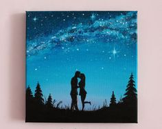 """Small painting Milky Way Love painting Kiss Oil painting on canvas gift for her Love couple Night sky Galaxy painting Space art Size 8x8"""""""