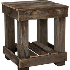 Pallets End Table - This End Table is made from reclaimed wood. The natural brown color that comes with old wood. Pallets End Table - This End Table is made from reclaimed wood. The natural brown color that comes with old wood. Diy Pallet Furniture, Diy Pallet Projects, Furniture Projects, Furniture Plans, Rustic Furniture, Modern Furniture, Furniture Stores, Cheap Furniture, Antique Furniture