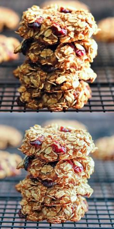 Healthy Cranberry Oatmeal Breakfast Cookies with no butter, oil, eggs, flour, or sugar Which means I can approve eating cookies for breakfast And so can you! healthy nosugar oatmeal breakfast is part of Oatmeal breakfast cookies - Good Healthy Recipes, Healthy Breakfast Recipes, Healthy Snacks, Good Protein Snacks, Oatmeal Breakfast Bars Healthy, Healthy Cookies For Kids, Healthy Oatmeal Recipes, Healthy Granola Bars, Homemade Granola Bars