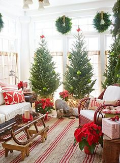 Who says you can only have one tree! I LOVE the idea of 3 Christmas trees!!!