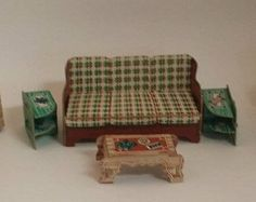 Vintage Built Rite Dollhouse Furniture - 1940s Cardboard Living Room Couch, Arm Chair, 3 Tables, Desk and Chair, Radio -- Green and Brown