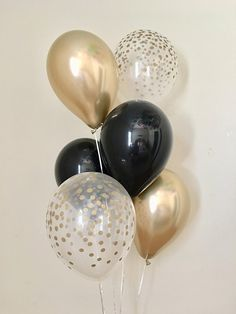 Black Chrome Gold and Gold Confetti Look Latex Balloon~Bridal Shower~Wedding~Black and Gold Party Decor~Retirement~Bachelorette Party~Chrome - Ruhestand 50th Birthday Party Decorations, Gold Birthday Party, 70th Birthday Parties, 60th Birthday Balloons, Graduation Centerpiece, Men Birthday, Birthday Gifts, Happy Birthday, Black And Gold Party Decorations