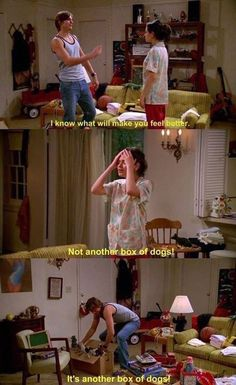 That Show: A box or dogs will make anyone feel better (unless they're allergic or something) / Jackie & Kelso Tv Show Quotes, Movie Quotes, That 70s Show Memes, Kelso That 70s Show, Movies Showing, Movies And Tv Shows, Sean Leonard, Eric Forman, Thats 70 Show